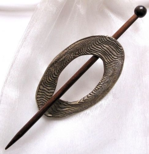 Moire white brass shawl pin Was £18.80